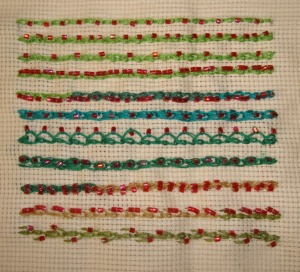 4.98.beaded shell chain stitch sampler
