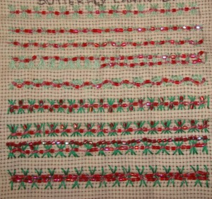9.103.beaded butterfly chain stitch sampler