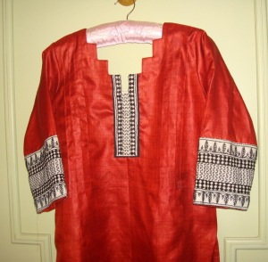 bagh border on copper tunic