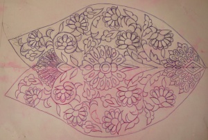 cream violet crepe zardosi tunic-pattern