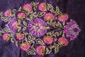 cream violet crepe zardosi tunic- zardosi work