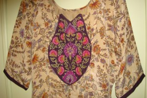 cream violet crepe zardosi tunic