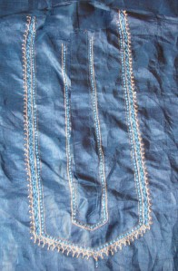 emb on blue kurtha