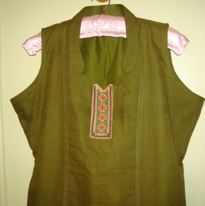 green brown tunic kutchwork yoke