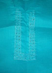 mirror on blue linen-emb detail