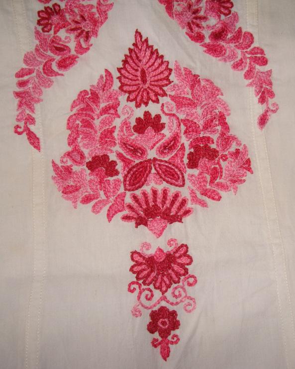 Pink Kashmiri Embroidery On White Tunic | Jizee6687u0026#39;s Weblog