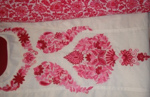 white pink Kashmiri work-set