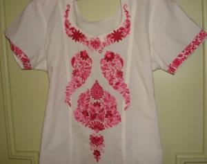 white pink kshmiri work-tunic