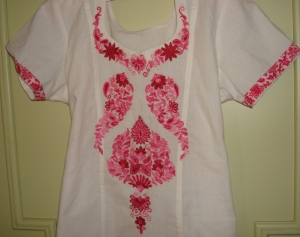 white pink kshmiri work-tunic