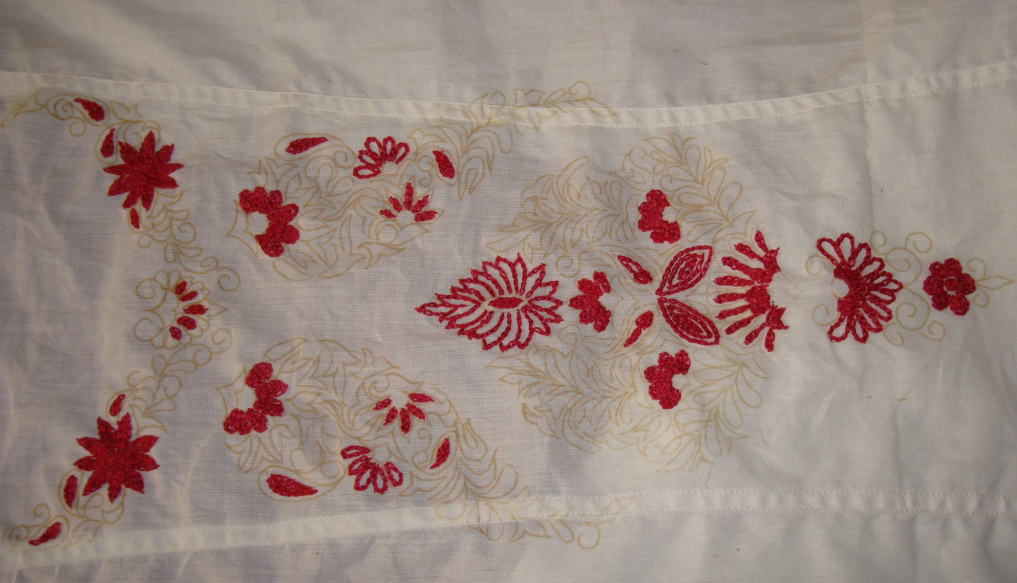 Pink kashmiri embroidery on white tunic jizee s we