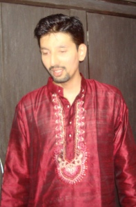 zardosi on maroon silk-my nephew, Balaji