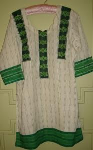kutchwork on cream and printed green tunic