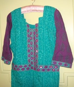 violet aqua green mirror work tunic