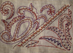 33.127.beaded alternating up and down buttonhole stitch sampler