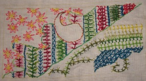 34.128.interlaced up& down buttonhole stitch