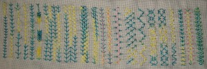 40.134.fern stitch sampler