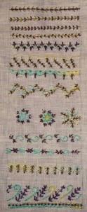 41.135.beaded fern stitch sampler