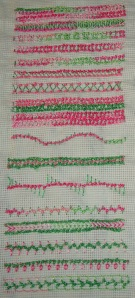 42.136.knotted buttonhole band sampler