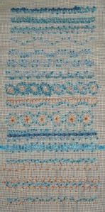 43.137.beaded knotted buttonhole band sampler