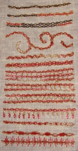 46.140.threaded cable chain stitch sampler