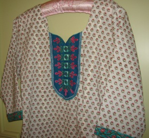blue yoke on printed white tunic