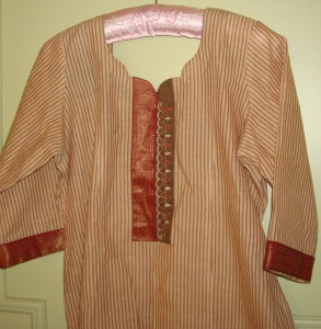 beige maroon striped tunic