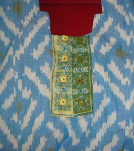 2 yoke on blue ikat tunic