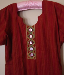 yellow maroon mirrorwork tunic