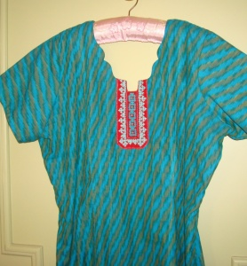 blue red kutch work tunic