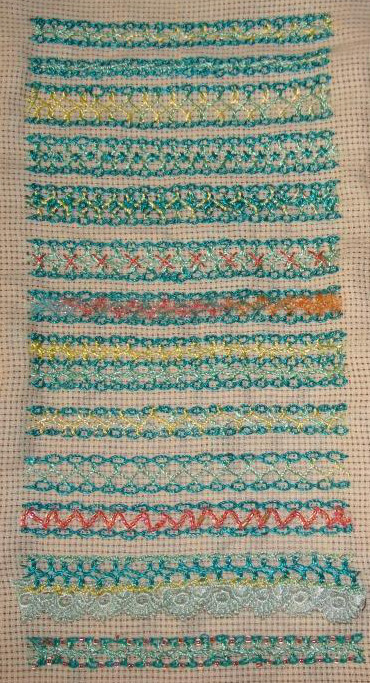 1.24.interlaced cable chain stitch sampler
