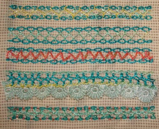 1.24.interlaced cable chain stitch sampler2