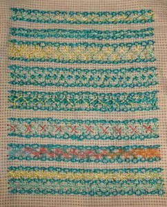 1.24.interlaced cable chain stitch sampler1