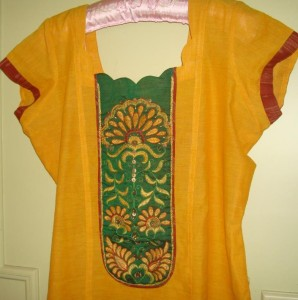 brown green yellow tunic detail