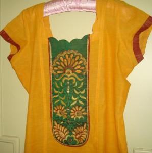 brown green yellow tunic detail