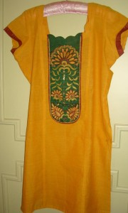 brown green yellow tunic
