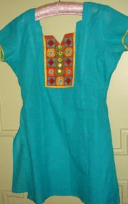 yellow orange patialablue tunic