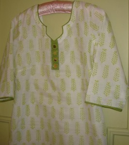 white green kota tunic