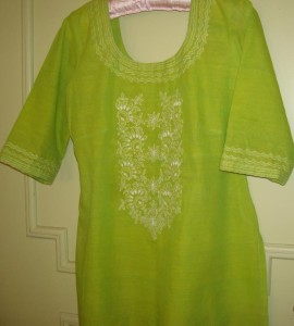 lemon green chikan tunic