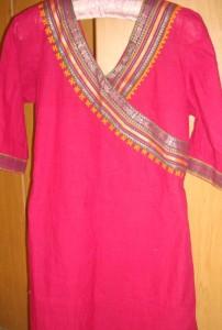 pink border kutchwork tunic