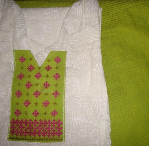 white green majenta kutch tunic-salwar