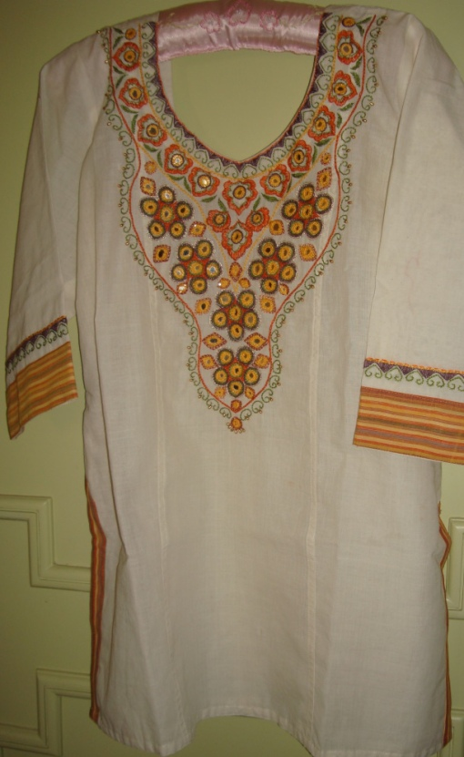 cream mirror work tunic