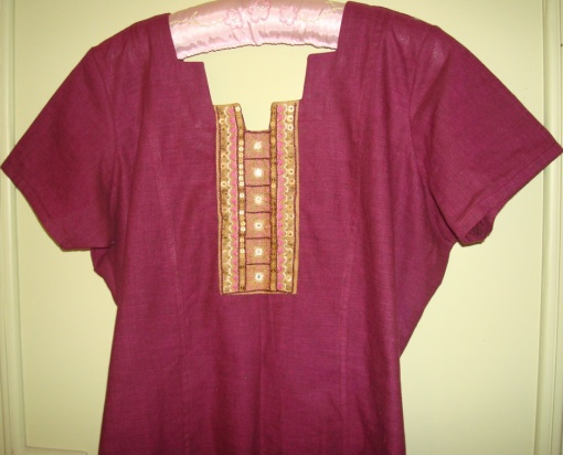 plum and yellow tunic